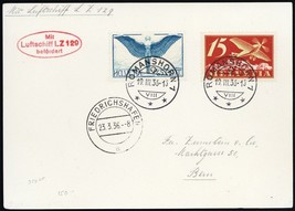 1936 LZ-129 Graf Zeppelin Switzerland - Flight Card To Germany - $150.00