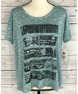 Style & Co Womens Small Teal Black City Embellished Stretch Short Sleeve... - $4.92