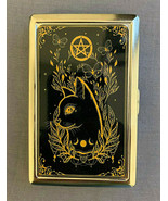 Halloween Witchcraft D2 Silver Metal Cigarette Case RFID Protection Wallet - $13.81