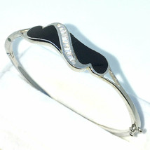 Nouveau Noir et Blanc Doré Couches sur 925 Argent Massif Ovale Bracelet - $117.52
