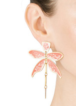 Tory Burch Earrings Articulated Dragonfly Blush NEW - $126.72