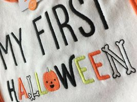 Carter's Teething Water Resistant Bib MY FIRST HALLOWEEN Pumpkin Bones Cute NEW image 3