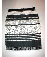 New Womens Black White Animal Skirt 4P 4 Petite Stripe Office Work Rayon... - $30.00