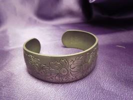 Vintage Kirk Stieff #900-4 Engraved Daisy & April Wide Cuff Bracelet - $24.75