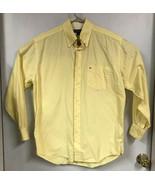 Tommy Hilfiger Mens MEDIUM Shirt Button Down Yellow Long Sleeve - $9.89