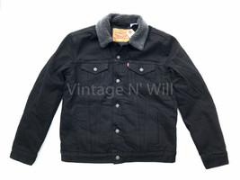 Levis Jeans Mens S Black Classic Fit Sherpa Lined Denim Trucker Jacket R... - $80.10