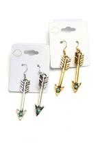 Arrow Dangle Earrings Turquoise Bead Southwestern Cowgirl Fashion Jewelr... - $6.39