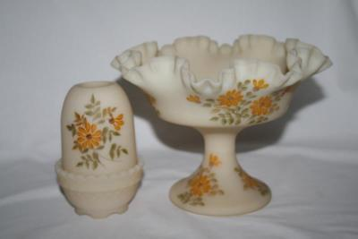 Signed Fenton Satin Custard Fairy Lamp & Compote Yellow Flowers image 3