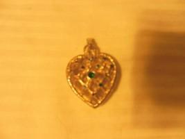 Vintage Heart Shape Pendant Open Weave Lace Design, Gold Tone, Rhinestones - £22.68 GBP