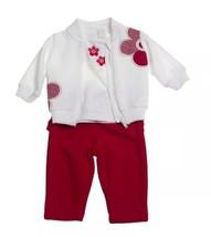 Baby Girls 3pcs Jogging Outfit Size 6 Months Red Jacket Pant Shirt Giran... - $23.22