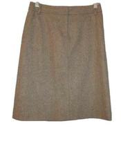 J CREW Size 2 WOOL Pencil SKIRT Tweed POCKETS Zip LINED Career PETITE Brown - $19.04