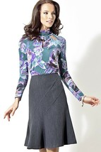 Fit & Flare Skirt Work KNEE-LENGTH Charcoal Gray Made In Europe S M L Xl 2XL - $64.00