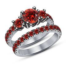 Round Cut Red Garnet 14K White Gold Finish 925 Sterling Silver Bridal Ri... - $92.99