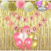 LITAUS Pink and Gold Birthday Decorations, Happy Birthday Banner, Pom Po... - $22.93