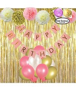 LITAUS Pink and Gold Birthday Decorations, Happy Birthday Banner, Pom Po... - $22.93