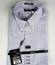 Kirkland Dress Shirt 17 x 34 Button down 100% Cotton Non-Iron Plaid Chec... - $15.81