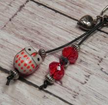 Owl Red Ceramic Crystal Beaded Handmade Purse Planner Charm Keychain Clip - $12.21