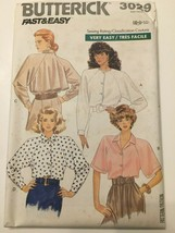 Butterick Sewing Pattern 3029 Fast & Easy Misses Shirt Blouse Size 6 8 10 1980s - $7.16
