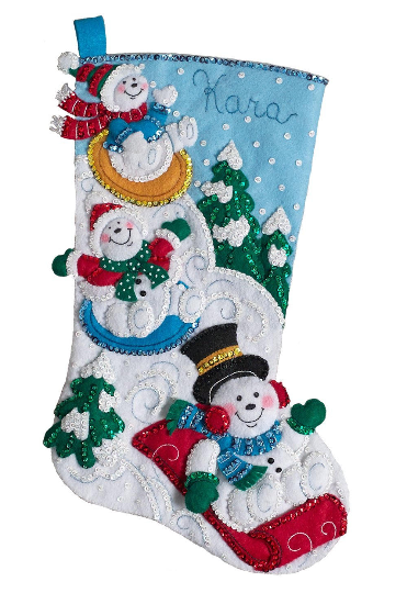 "Primary image for Bucilla 'Snow Day Fun Day' 18"" Christmas Stocking Felt Applique Kit, 86713"