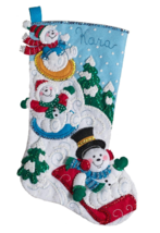 "Bucilla 'Snow Day Fun Day' 18"" Christmas Stocking Felt Applique Kit, 86713 - $25.99"