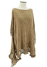 An item in the Fashion category: Knit Fringe Poncho with Intricate Geometric Needlework Design - 4 Chic Colors!
