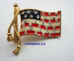 Hard to Find Eisenberg Ice Patriotic American Flag Tac Pin Enamel Rhines... - $19.95