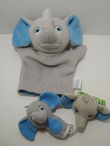 Garanimals Gray elephant blue ears baby child bath mitt finger puppet ra... - $6.23