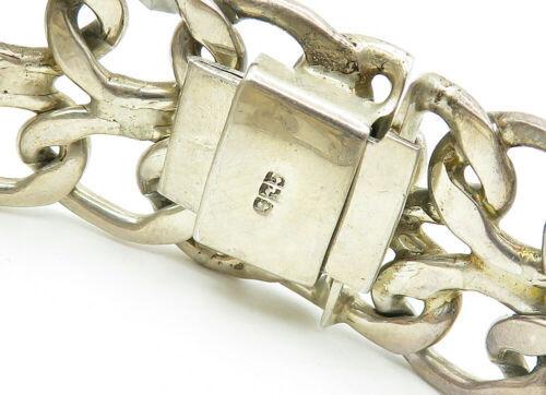 925 Sterling Silver - Vintage Open Swirl Linked Wide Chain Bracelet - B6234 image 3