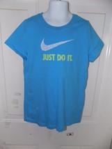 Nike Just Do It Light Blue T-SHIRT Size M Girl's Euc - $35.99
