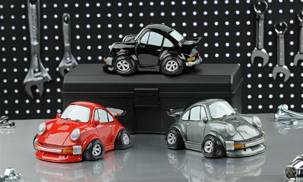 Set of 3 Sports Car Animated Design Money Bank in  Red,  Black , Silver