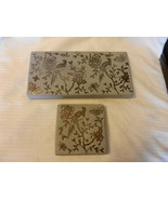 Pair of Hand Made Gray Pottery Candle Holder Trays With Gold Painted Birds - $74.25