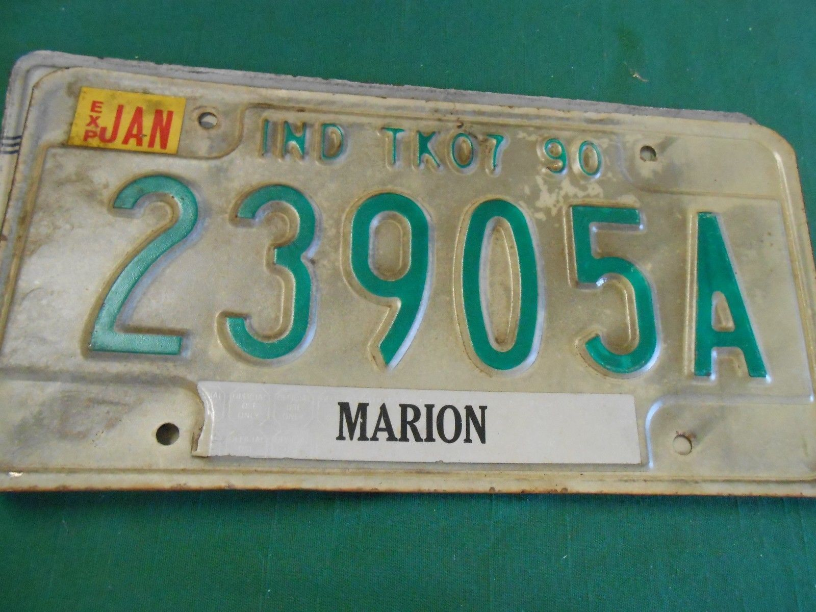 Collectible License Plate Tag......INDIANA TK07 90 Madison 23905A