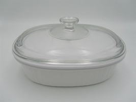CorningWare French White 3pc F-2-B Baking Dish & Glass Lid with New Plas... - $26.68