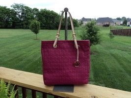 Authentic Michael Kors NS Jet Set Item Peony Pink Leather Large Embossed Tote - $164.99