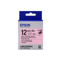 12mm Black on Pink - Epson LABELWORKS Iron On LK-4PBQ Tape Cartridge (Pack of 4) - $82.99