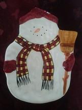Snowman & His Broom Sakura Handpainted Cookie Plate Tray Debbie Mumm Design - $18.69