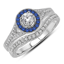 Womens Halo Engagement Diamond Ring Set 14k White Gold Over 925 Sterling Silver - $94.99