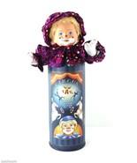 Tati Bremen-Germany Clown 18-in Doll Magenta Sequins Porcelain Head Box - $14.85