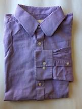 Michael Lots Men Dress Shirt 17 Purple Stripe Cotton - $21.78
