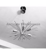 Vintage Brass Chrome Urchin Starburst Atomic Chandelier Pendant Fixture ... - $196.17