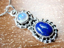 Lapis and Rainbow Moonstone Necklace 925 Sterling Silver w/ Rope Style Accented - $23.71