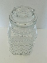 Anchor Hocking Glass Square Storage Jar Canister 58 Ounce Diamond Pattern Clear - $16.71