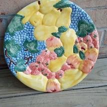 GUYROC vintage heavy decorative plate colorful fruit - $36.98