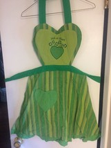 "Vintage Adorable Green ""Irish at Heart"" Heart Striped And Gingham Apron - $10.39"
