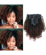 Sassina Real Thick Double Wefts Clip In Human Hair Extensions Afro Curly Style T - $54.57