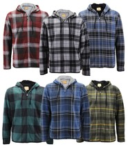 Men's Casual Flannel Zip Up Fleece Lined Plaid Sherpa Hoodie Lightweight Jacket image 1
