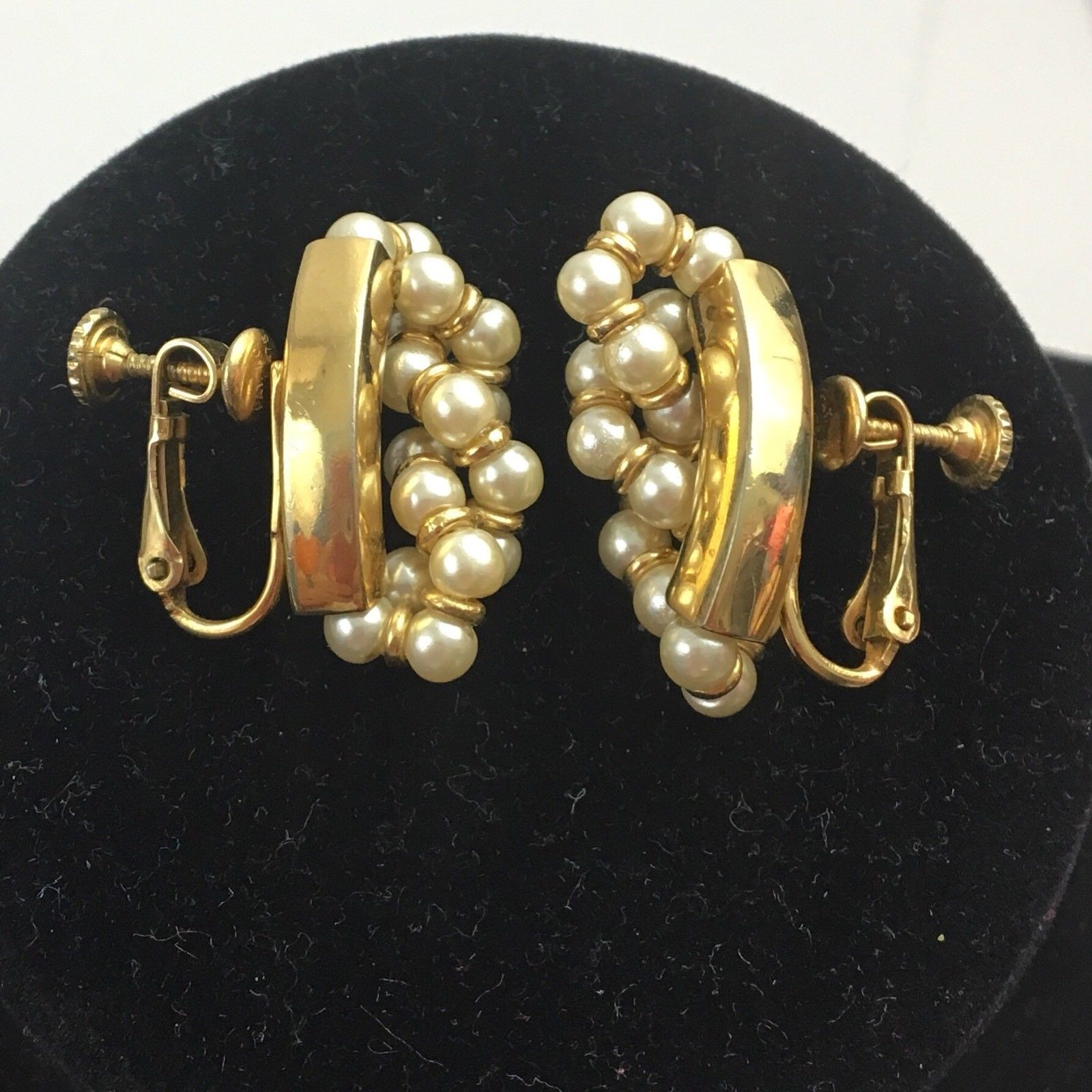 4236908dcf39bd S l1600. S l1600. Previous. Vintage Napier Faux Pearl Cluster Screw Back  Clip Earrings Gold Tone Signed