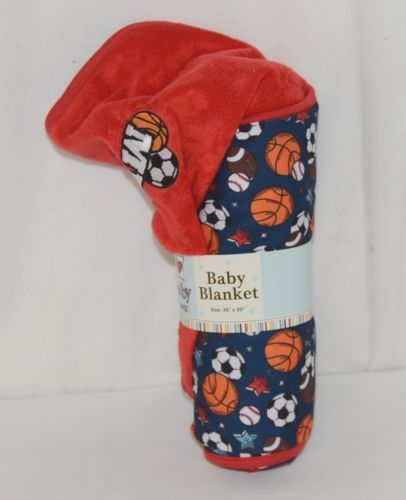 Baby Ganz BG3437 Sports Blanket 36 by 30 inches Birth and Up Red Blue