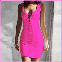 Fire Pink Sleeveless Full Front Lace Up Tunic Sheath Mini Length Pencil Dress