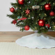 "Wondershop 34"" Reversible Linen Christmas Tree Skirt for tree up to 42"" NEW image 2"